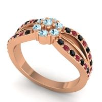 Simple Floral Pave Kalikda Aquamarine Ring with Ruby and Black Onyx in 18K Rose Gold