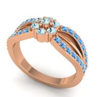 Simple Floral Pave Kalikda Aquamarine Ring with Swiss Blue Topaz in 18K Rose Gold