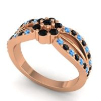 Simple Floral Pave Kalikda Black Onyx Ring with Swiss Blue Topaz in 14K Rose Gold