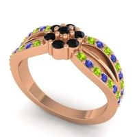 Simple Floral Pave Kalikda Black Onyx Ring with Blue Sapphire and Peridot in 18K Rose Gold