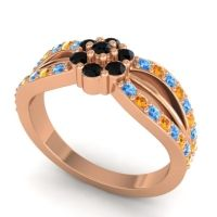 Simple Floral Pave Kalikda Black Onyx Ring with Citrine and Swiss Blue Topaz in 14K Rose Gold