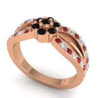 Simple Floral Pave Kalikda Black Onyx Ring with Diamond and Ruby in 18K Rose Gold