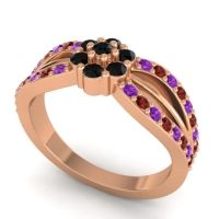 Simple Floral Pave Kalikda Black Onyx Ring with Garnet and Amethyst in 14K Rose Gold