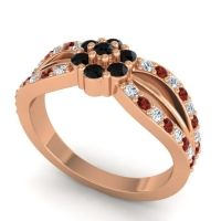 Simple Floral Pave Kalikda Black Onyx Ring with Garnet and Diamond in 18K Rose Gold