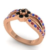 Simple Floral Pave Kalikda Black Onyx Ring with Ruby and Blue Sapphire in 14K Rose Gold