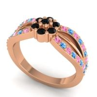 Simple Floral Pave Kalikda Black Onyx Ring with Swiss Blue Topaz and Pink Tourmaline in 18K Rose Gold