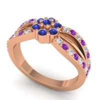 Simple Floral Pave Kalikda Blue Sapphire Ring with Amethyst and Diamond in 14K Rose Gold