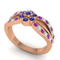 Simple Floral Pave Kalikda Blue Sapphire Ring with Aquamarine and Amethyst in 14K Rose Gold