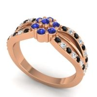 Simple Floral Pave Kalikda Blue Sapphire Ring with Diamond and Black Onyx in 14K Rose Gold