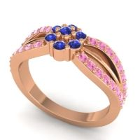 Simple Floral Pave Kalikda Blue Sapphire Ring with Pink Tourmaline in 18K Rose Gold