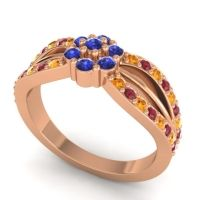Simple Floral Pave Kalikda Blue Sapphire Ring with Ruby and Citrine in 18K Rose Gold