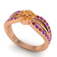 Simple Floral Pave Kalikda Citrine Ring with Amethyst and Ruby in 18K Rose Gold