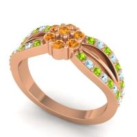 Simple Floral Pave Kalikda Citrine Ring with Aquamarine and Peridot in 14K Rose Gold