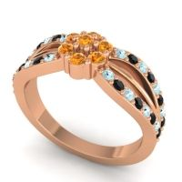 Simple Floral Pave Kalikda Citrine Ring with Black Onyx and Aquamarine in 14K Rose Gold