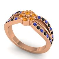 Simple Floral Pave Kalikda Citrine Ring with Black Onyx and Blue Sapphire in 14K Rose Gold