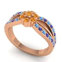 Simple Floral Pave Kalikda Citrine Ring with Blue Sapphire and Swiss Blue Topaz in 18K Rose Gold