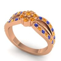 Simple Floral Pave Kalikda Citrine Ring with Blue Sapphire in 18K Rose Gold