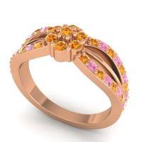 Simple Floral Pave Kalikda Citrine Ring with Pink Tourmaline in 18K Rose Gold