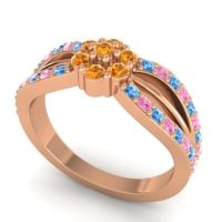 Simple Floral Pave Kalikda Citrine Ring with Pink Tourmaline and Swiss Blue Topaz in 14K Rose Gold