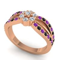 Simple Floral Pave Kalikda Diamond Ring with Black Onyx and Amethyst in 14K Rose Gold