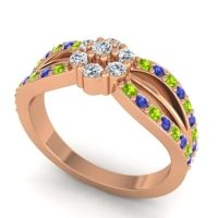 Simple Floral Pave Kalikda Diamond Ring with Blue Sapphire and Peridot in 18K Rose Gold