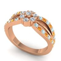 Simple Floral Pave Kalikda Diamond Ring with Citrine and Aquamarine in 14K Rose Gold