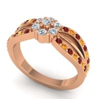 Simple Floral Pave Kalikda Diamond Ring with Citrine and Garnet in 14K Rose Gold