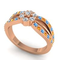 Simple Floral Pave Kalikda Diamond Ring with Citrine and Swiss Blue Topaz in 18K Rose Gold