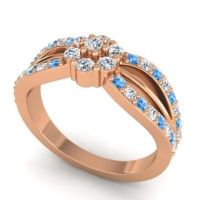 Simple Floral Pave Kalikda Diamond Ring with Swiss Blue Topaz in 14K Rose Gold