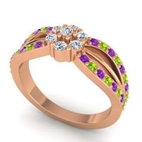 Simple Floral Pave Kalikda Diamond Ring with Peridot and Amethyst in 14K Rose Gold