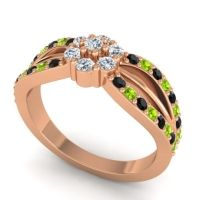 Simple Floral Pave Kalikda Diamond Ring with Peridot and Black Onyx in 18K Rose Gold