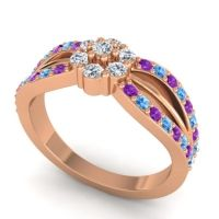 Simple Floral Pave Kalikda Diamond Ring with Swiss Blue Topaz and Amethyst in 18K Rose Gold