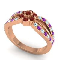 Simple Floral Pave Kalikda Garnet Ring with Amethyst and Aquamarine in 14K Rose Gold