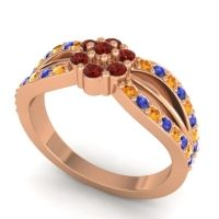 Simple Floral Pave Kalikda Garnet Ring with Blue Sapphire and Citrine in 18K Rose Gold