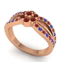 Simple Floral Pave Kalikda Garnet Ring with Blue Sapphire and Ruby in 14K Rose Gold