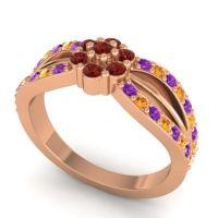 Simple Floral Pave Kalikda Garnet Ring with Citrine and Amethyst in 18K Rose Gold
