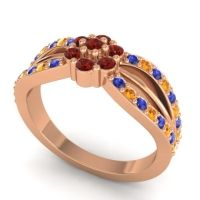 Simple Floral Pave Kalikda Garnet Ring with Citrine and Blue Sapphire in 14K Rose Gold