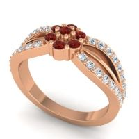 Simple Floral Pave Kalikda Garnet Ring with Diamond in 14K Rose Gold