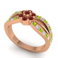 Simple Floral Pave Kalikda Garnet Ring with Diamond and Peridot in 18K Rose Gold