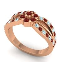 Simple Floral Pave Kalikda Garnet Ring with Aquamarine in 14K Rose Gold