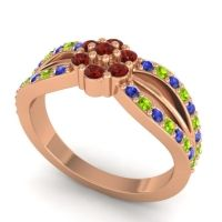Simple Floral Pave Kalikda Garnet Ring with Peridot and Blue Sapphire in 18K Rose Gold