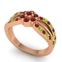 Simple Floral Pave Kalikda Garnet Ring with Peridot in 18K Rose Gold