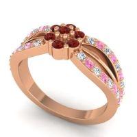 Simple Floral Pave Kalikda Garnet Ring with Pink Tourmaline and Diamond in 14K Rose Gold