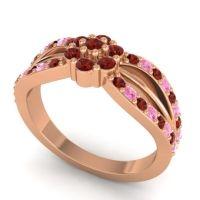 Simple Floral Pave Kalikda Garnet Ring with Pink Tourmaline in 14K Rose Gold