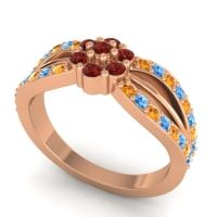 Simple Floral Pave Kalikda Garnet Ring with Swiss Blue Topaz and Citrine in 14K Rose Gold