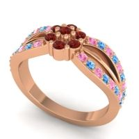 Simple Floral Pave Kalikda Garnet Ring with Swiss Blue Topaz and Pink Tourmaline in 14K Rose Gold