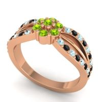 Simple Floral Pave Kalikda Peridot Ring with Black Onyx and Aquamarine in 18K Rose Gold