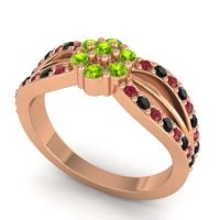 Simple Floral Pave Kalikda Peridot Ring with Black Onyx and Ruby in 18K Rose Gold