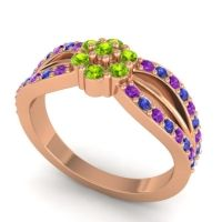 Simple Floral Pave Kalikda Peridot Ring with Blue Sapphire and Amethyst in 14K Rose Gold