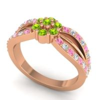 Simple Floral Pave Kalikda Peridot Ring with Diamond and Pink Tourmaline in 14K Rose Gold